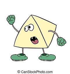 Funny triangle smiley with legs and eyes waving his fist and swearing. Caricature color sketch.