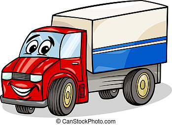 funny truck car cartoon illustration