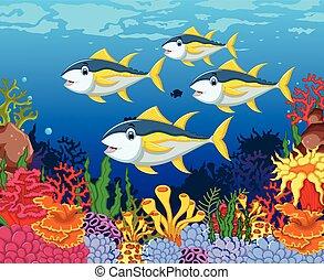 funny tuna fish with sea life