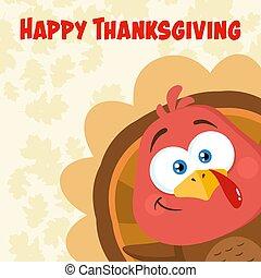 Funny Turkey Bird Cartoon Character Waving From A Corner