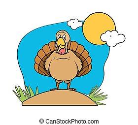 Funny Turkey Bird in Garden - Cartoon Funny Turkey Bird in...