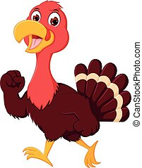 funny turkey cartoon walking with with smiling - vector...