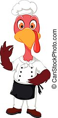 funny Turkey Chef cartoon pointing