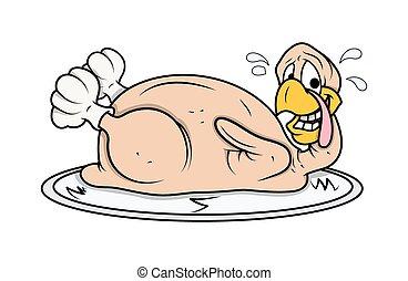 Funny Turkey Chicken - Cartoon Funny Turkey Bird Chicken in...