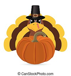 Funny turkey peligrimm with a pumpkin for Thanksgiving...