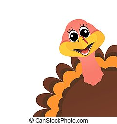 Funny turkey Peligrin peeking sideways on Thanksgiving Day...