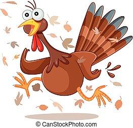 Funny Turkey Running Vector Cartoon.eps - Illustration of a...