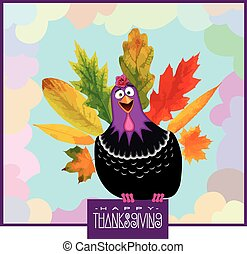 Funny Turkey Thanksgiving Day - Thanksgiving Day Poster with...