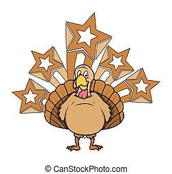 Funny Turkey with Stars Vector - Cartoon Funny Turkey Bird...