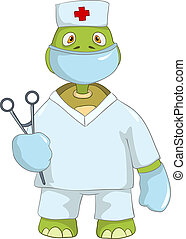 Funny Turtle. Doctor. - Cartoon Character Funny Turtle...