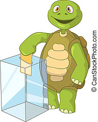 Cartoon Character Funny Turtle Isolated on White Background. Election. Vector EPS 10.