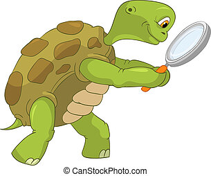 Funny Turtle. Finding. - Cartoon Character Funny Turtle ...