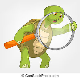 Funny Turtle. Finding. - Cartoon Character Funny Turtle...