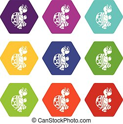 Funny turtle icons set 9 vector