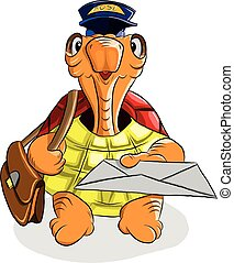 Funny turtle postman holding a letter