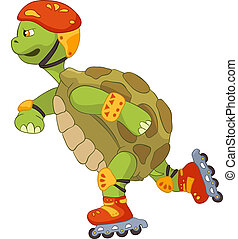 Funny Turtle. Roller. - Cartoon Character Funny Turtle...