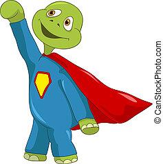 Funny Turtle. Superman. - Cartoon Character Funny Turtle...