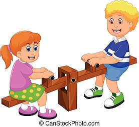 funny two kids cartoon playing see saw