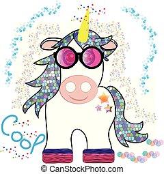 Funny unicorn cartoon isolated on white background