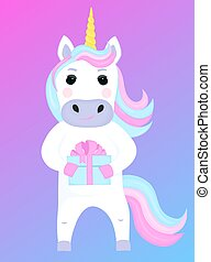 Funny unicorn holds a gift box. Cartoon character. Vector illustration