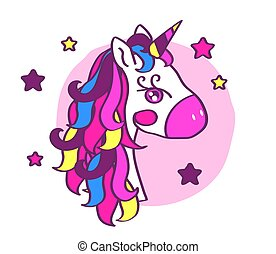 Funny unicorn on a pink background.