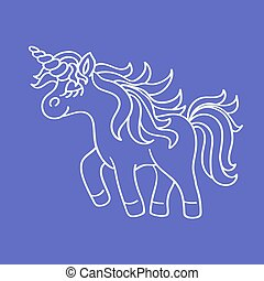 Funny unicorn white sketch icon on the blue background