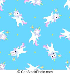 Funny unicorn with windmill toy. Seamless pattern for the decoration of the nursery for a girl or boy, for the design of kids clothing, things