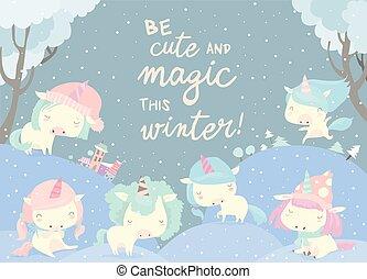 Funny unicorns in snow forest. Magic winter