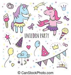 Funny unicorns set, collection of Happy Birthday.