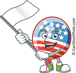 Funny USA stripes balloon cartoon character design with a flag