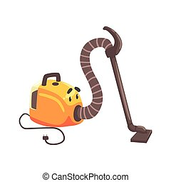 Funny vacuum cleaner character with smiling face, humanized home electrical equipment vector Illustration