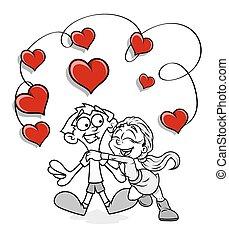 Funny Valentine Couple Vector