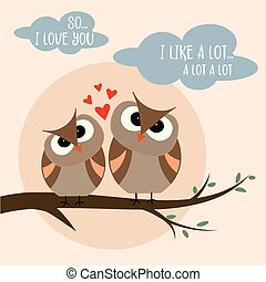 Funny Valentine's day card with birds couple