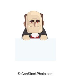 Funny vampire with blank sheet of paper. Cartoon count Dracula character with big teeth, red eyes and bald head. Flat vector