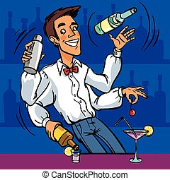 Cocktail Party Juggling Barman mix various alcohol drinks ingredients isolated vector cartoon comic illustration