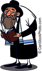 Funny vector cartoon colorfull jew - JewJew dressed in a...
