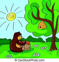 Funny vector cartoon - cute bear with honey
