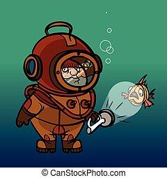 Funny vector cartoon diver