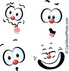 funny vector cartoon face - grin