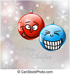 Funny Vector Christmas baubles with faces