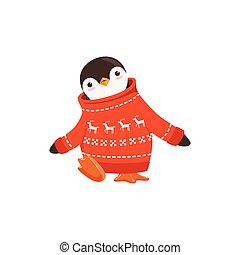 Funny vector Cute Penguin Toon Character In A Red Sweater...