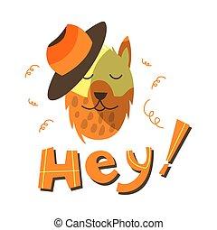 Funny vector dog wearing hat illustration