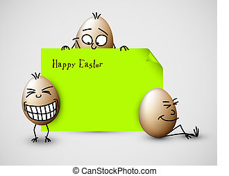 Funny vector easter card with eggs - Funny vector easter...