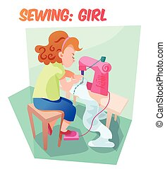 Funny vector illustration girl sewing at machine - Little...