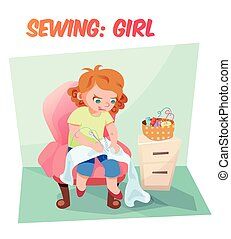 Funny vector illustration girl sewing - Little girl sewing...