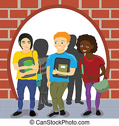 high school students - Funny vector illustration of a small...