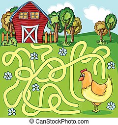 Funny Vector Maze Game - Cartoon Chicken