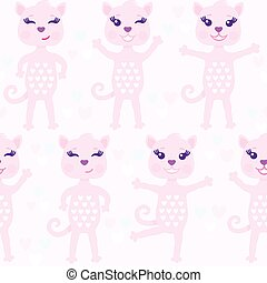 Funny vector seamless pattern with pink abstract cats