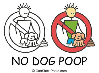 Funny vector stick man and dog poop in children's style. Don...