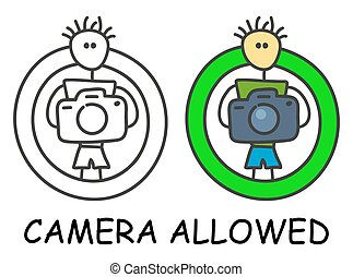 Funny vector stick man with a camera in children's style. ...